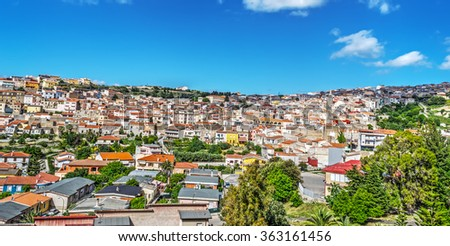 panorama of a small town in Sardinia, Italy - stock photo