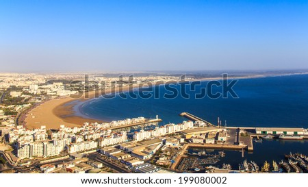 Panorama of Agadir, Morocco. A view from the mountain. - stock photo