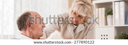 Panorama of aged couple being on retirement