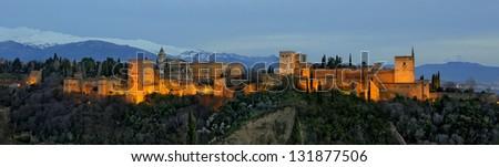 Panorama of Al Hambra lit at night - stock photo