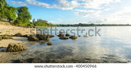 Panorama of Albion beach, Mauritius - stock photo
