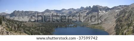 Panorama of Alice Lake in Stanley, Idaho - stock photo