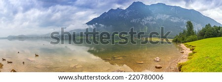 Panorama of Alps mountains in cloudy day, Austria - stock photo