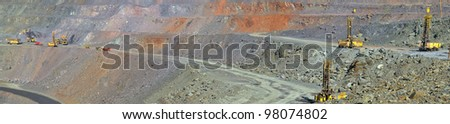 Panorama of an open-cast mine extracting iron ore - stock photo