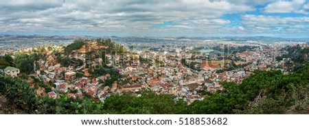Panorama of Antananarivo, french Tananarive, short name Tana,  capital and largest city in Madagascar, Madagasikara republic. View from top to Central Antananarivo, including Lake Anosy.