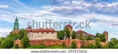 Panorama of antique royal Wawel castle in Cracow ( Krakow ), Poland - stock photo