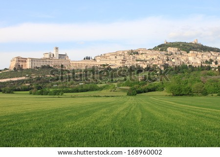 Panorama of Assisi (Italy) with Saint Francis Cathedral - stock photo