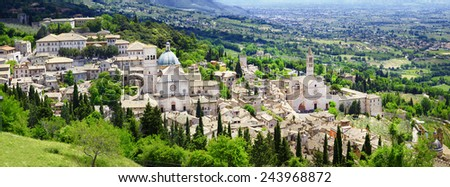 panorama of Assisi - religious center of medieval Umbria, Italy - stock photo