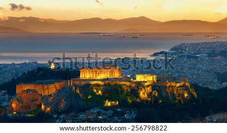 Panorama of Athens, Greece. After sunset. Parthenon and Herodium construction in Acropolis Hill - stock photo