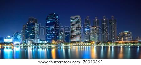 Panorama of Bangkok city downtown at night, Bangkok,Thailand - stock photo