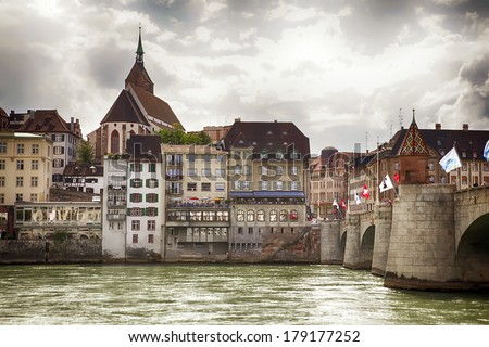 panorama of Basel, Switzerland - stock photo
