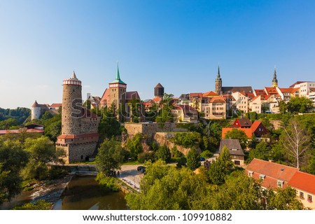 Panorama of Bautzen (Budysin) in Upper Lusatia, Germany - stock photo