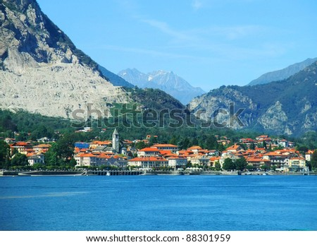 Panorama of Baveno. Lake Maggiore, Piedmont, Italy - stock photo