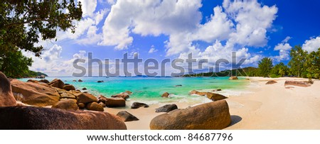 Panorama of beach Anse Lazio, Seychelles - vacation background - stock photo