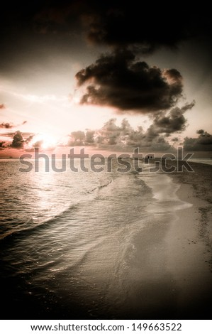 Panorama of beach in sunset, Maldive Islands