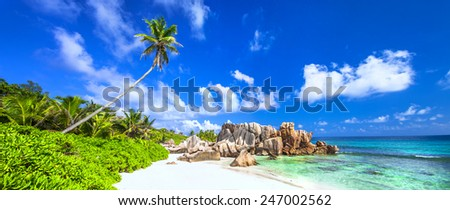 panorama of beautiful beach in La digue island, Seychelles - stock photo