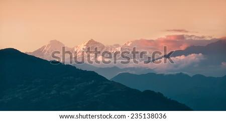 Panorama of beautiful Himalayan mountains during sunset - stock photo