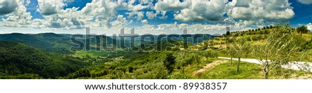Panorama of beautiful Motovun and hills - stock photo