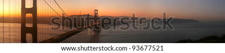 Panorama of beautiful sunrise over Golden Gate Bridge, San Francisco, California - stock photo
