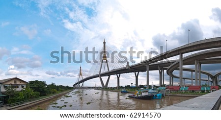 Panorama of Bhumibol Bridge(Industrial Ring Road Bridge), Samut Prakarn,Thailand