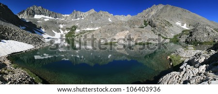 Panorama of Birch Lake and Ed Lane Peak and The Thumb mountain in the Sierra Nevada Mountains of California - stock photo
