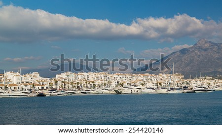 Panorama of boats in harbour - stock photo