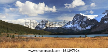 Panorama of Bow Lake on the Icefield Parkway in the Fall, Alberta, Canada