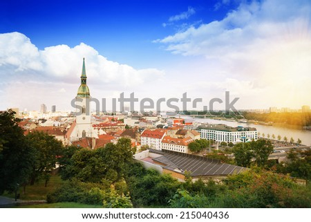 Panorama of Bratislava downtown and St. Martin's Cathedral - stock photo