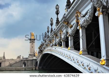 Panorama of  bridge Alexander III in Paris. France - stock photo