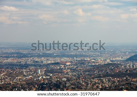 Panorama of Budapest from a high viewpoint