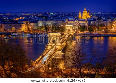 Panorama of Budapest, Hungary, with the Chain Bridge in twilight - stock photo