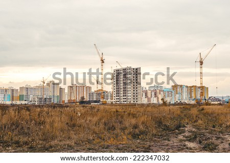 Panorama of building of an housing estate. - stock photo