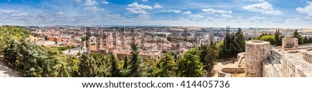Panorama of Burgos, Spain with the Burgos Cathedral and distant fields around the city. View from Castillo de Burgos. Merged panorama.