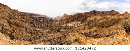 Panorama of burned land, Tenerife, Canarian Islands