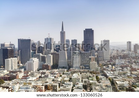 Panorama of Business Center in San Francisco. - stock photo
