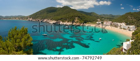 Panorama of Cala de Sant Vicent on the North East of Ibiza, Spain - stock photo