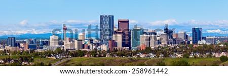 Panorama of Calgary and Rocky Mountains. Calgary, Alberta, USA - stock photo