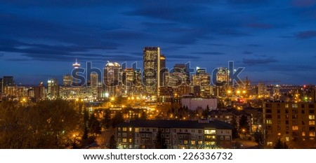 Panorama of Calgary skyline in the early morning. - stock photo
