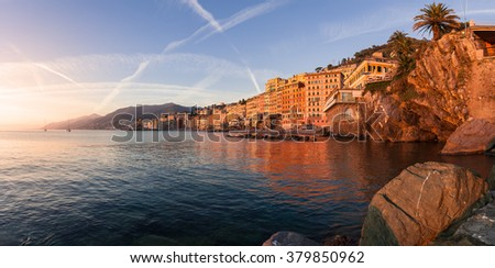 Panorama of Camogli town. Mediterranean sea. Italy. - stock photo