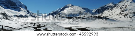 Panorama of canadian rocky mountains in columbia icefiled in spring, jasper national park, alberta, canada - stock photo