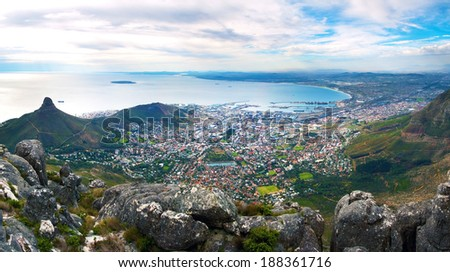 Panorama of Cape Town from the top of Table Mountain - stock photo