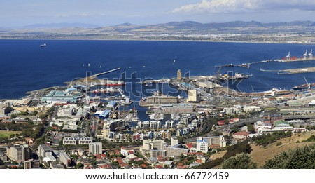 Panorama of Cape Town waterfront and harbour - stock photo