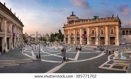 Panorama of Capitoline Hill and Piazza del Campidoglio in the Evening, Rome, Italy