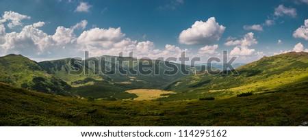 Panorama of Carpathian mountains, Ukraine - stock photo