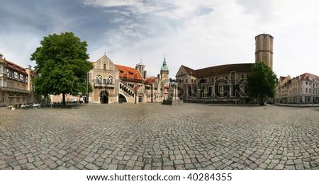 "Panorama of castle Dankwarderode and landmark ""Brauschweiger Loewe"" (anno 1166) in Braunschweig (Brunswick), Germany - stock photo"