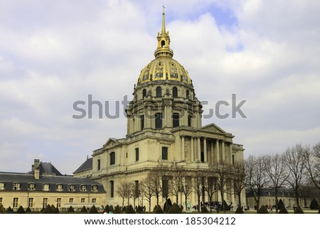 Panorama of Cathedral Les Invalides in Paris, France