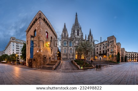 Panorama of Cathedral of the Holy Cross and Saint Eulalia in the Morning, Barri Gothic Quarter, Barcelona, Catalonia - stock photo