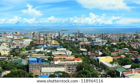 Panorama of Cebu city. Cebu is the Philippines second most significant metropolitan centre and main domestic shipping port. - stock photo
