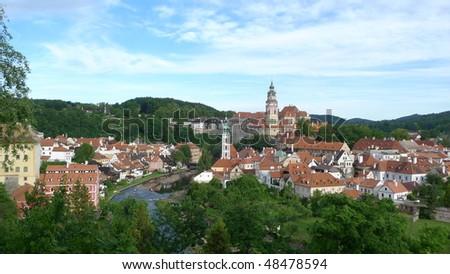 Panorama of Cesky Krumlov town of Prague . - stock photo
