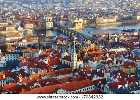 Panorama of Charles bridge, View From Castle, Prague, Czech Republic - stock photo
